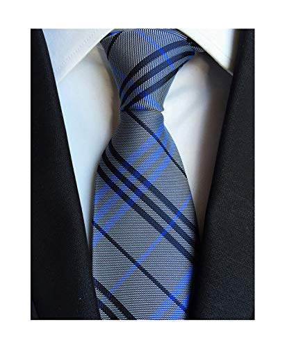 Men's Grey Blue Micro Check Ties Long Regular Wedding Necktie for Young Boys