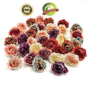 silk flowers in bulk wholesale Silk Cherry Blossoms Small Artificial Rose Flowers Heads Poppy Wreath Wedding Decoration Scrapbooking 30PCS/Lot 4CM (Multicolor) 101