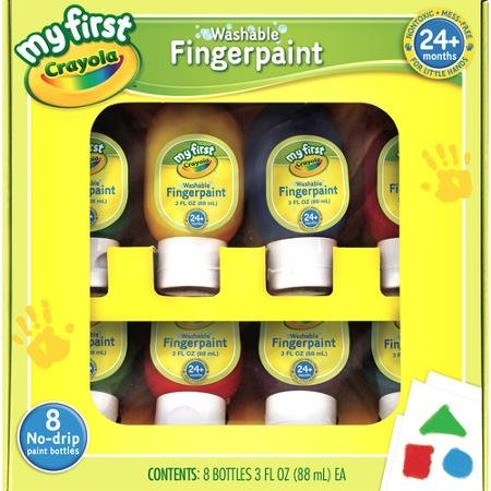 - Crayola Washable Finger Paints, 8-Count ( 3 Ounce no-drip Tubes ), Red, Blue, Yellow, Green, Orange, Purple, Lime Green and Teal