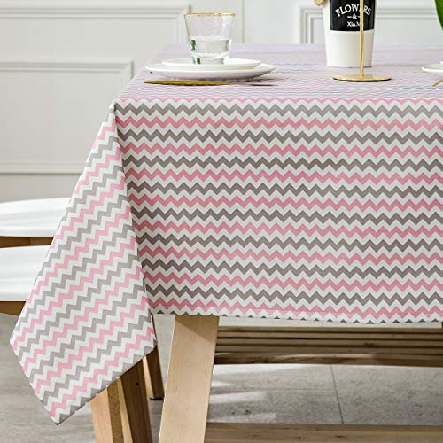 Grey Chevron Plastic Tablecloth (Heavy Duty Vinyl Oilcloth Tablecloth PVC Waterproof Plastic Wipeable Spillproof Peva Tablecloth for Spring Outdoor Camping Picnic Rectangle/Oblong 55x108 Inch Pink + Grey + White)