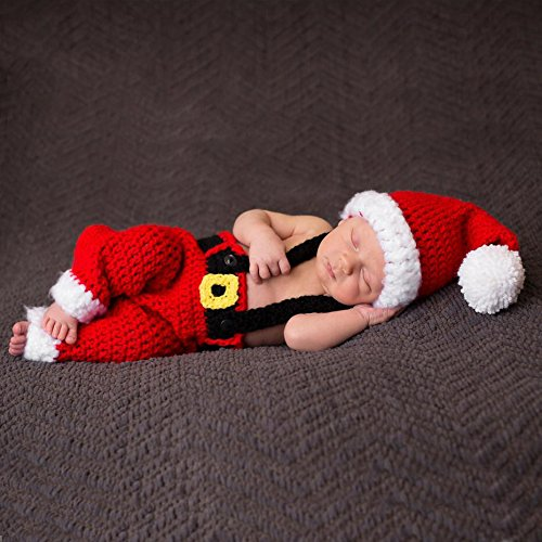 Christmas Picture Outfits (AiXiAng Baby Newborn Photography Props Baby Handmade Crochet Knitted Santa Claus Outfit Costume Christmas Cap Hat and Suspender Trousers Set Baby Photo Props Christmas)