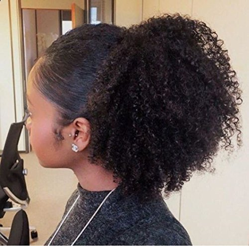 Afro Kinky Curly human hair ponytail extensions Kinky Curly drawstring human hair ponytail hairpieces natural curly clip in ponytail (18)