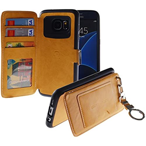 [Back Pocket Case] [5 Card Slot] Finger Holder Clip PU Leather TPU Bumper Clutch Case [Drop Protection] For Galaxy S7 Edge (Yellow) Sales