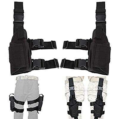 aokur Left Hand & Right Hand Adjustable Universal Waterproof Pistol/Gun Drop Puttee Leg Thigh Holster Pouch Holder (Left & Right)