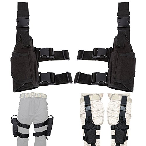 Leg Gun Holster (aokur Left Hand & Right Hand Adjustable Universal Waterproof Pistol/Gun Drop Puttee Leg Thigh Holster Pouch Holder (Left & Right))