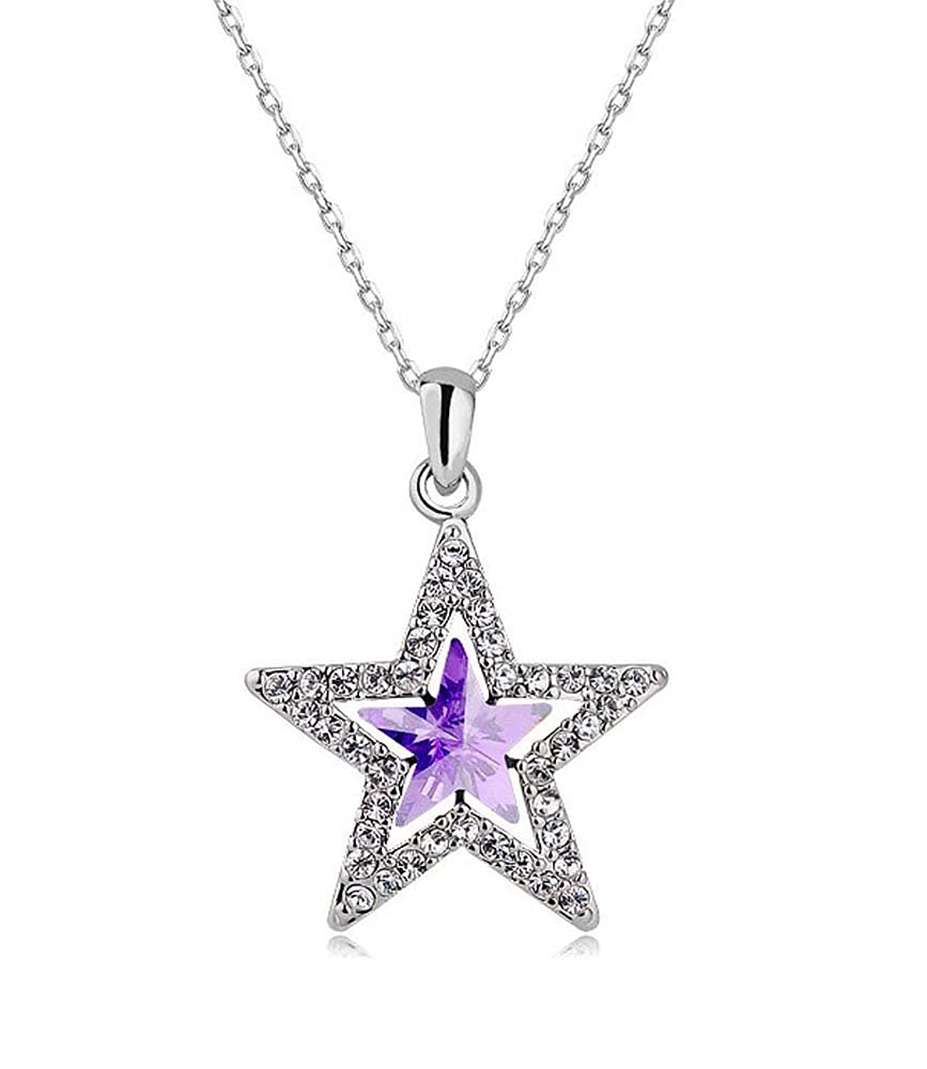Celebrity jewellery purple swarovski elements glass crystal star celebrity jewellery purple swarovski elements glass crystal star shaped pendant necklace for women amazon jewellery mozeypictures Image collections