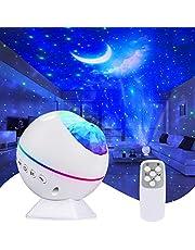 Tobeape Lampa LED z projektorem gwiaździstego nieba, fale oceanu, światło nocne, romantyczna atmosfera, obracana o 360°, idealna na imprezę dla dzieci, spotkania rodzinne, do samochodu