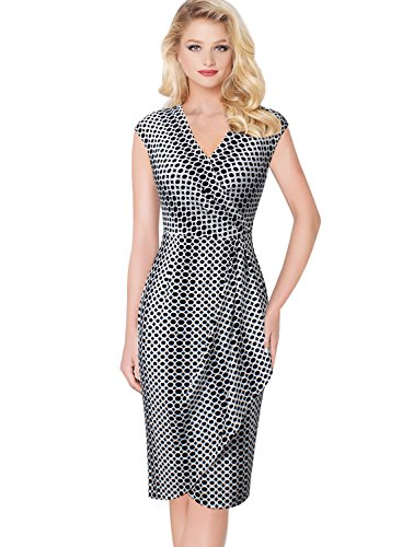 VFSHOW Womens V Neck Ruffles Print Work Business Faux Wrap Sheath Dress 562 WHT XXL