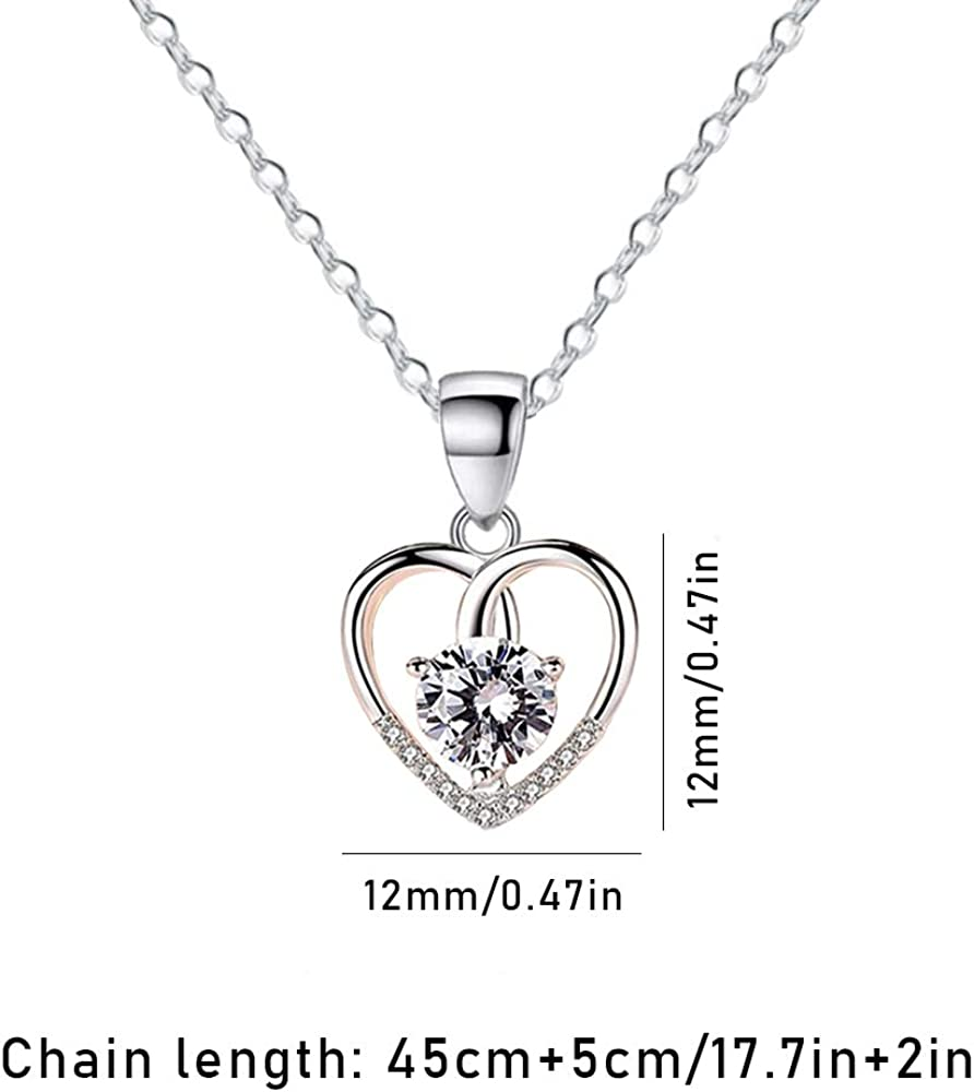 Ceqiny Love Pendant Necklace Clavicle Chain Necklace Photo Frame Necklace White Crystal Chain Necklace Vintage Choker Cubic Zircon Birthday Necklace Gifts for Women Girls Silver