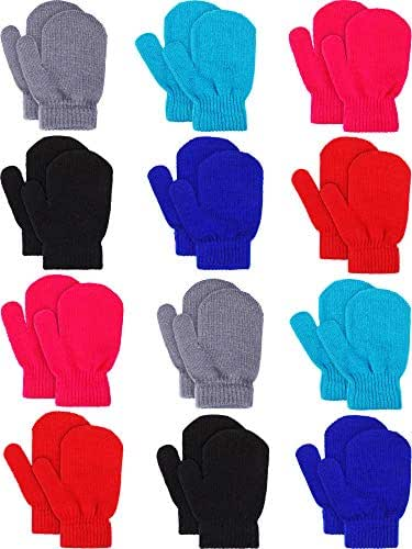 Sumind 12 Pairs Kids Knitted Mittens Winter Warm Stretch Gloves Infant Mitten Gloves for Boys Girls, 6 Various Colors