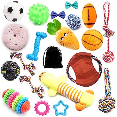 SZKOKUHO 10-20 Pack Puppy Dog Chew Toys Set—Plush Toys,Dog Ropes,Squeaky Toys,Puppy Chew Toys,Dog Ball Toys,Dog Bone Toy…