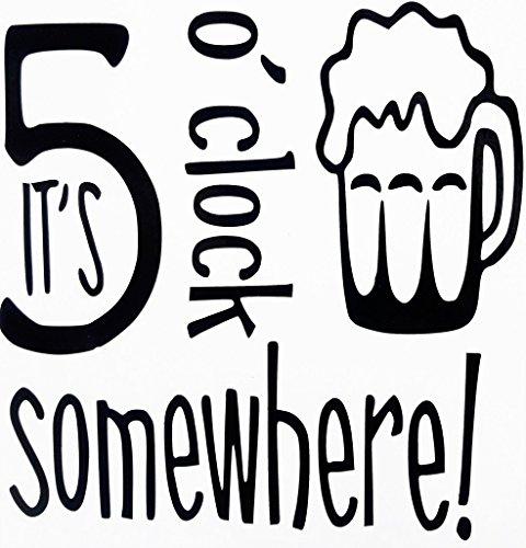 (Chase Grace Studio It's 5 O 'Clock Somewhere Beer Mug Vinyl Decal Sticker|BLACK|Cars Trucks Suvs Kayak Boat Laptops Wall Art|5