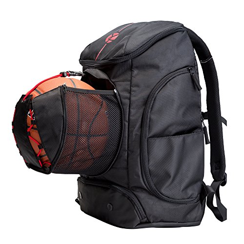 Kuangmi Basketball Backpack Ball Pocket All Sports Gym Travel Bag for Basketball,Soccer,Volleyball,Football,Rugby (Black (42L)) ()