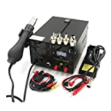 New SAIKE 909D 220V or 110V Upgrade 3 in 1 Hot air gun rework station Soldering station dc power supply