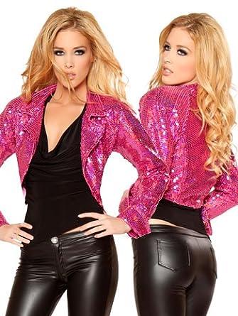 Amazon.com: Sassy Hot Pink Sequin Jacket - SMALL: Clothing