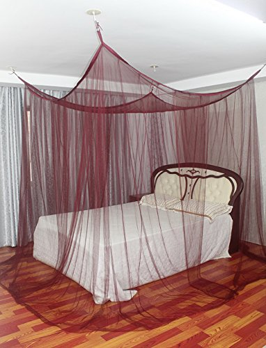 Wine red mosquito nets 4 corner poster square bed canopy for Rectangle bed canopy