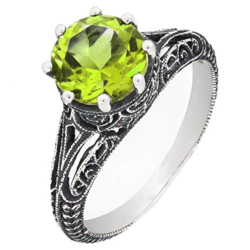 (BL Jewelry Antique Finish Filigree Sterling Silver Round Cut Natural Garnet Peridot Ring (2 CT.T.W) (6, Peridot))