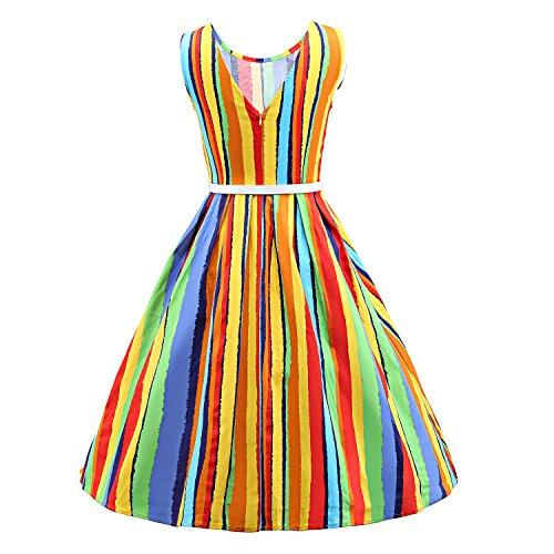 LUOUSE 'Lana' Vestidos Mujer Corto Vintage Retro Estilo de 1950 Rockabilly Escote Elegante V056-Multicolor