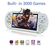 "Handheld Game Console, 3000 Classic Games 16GB 4.3"" 64 Bit Portable Game Console Pap-GametaII Support GBA / GBC / SEGA / NES / SFC / NEOGEO -White"