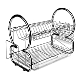 : Homdox 2-Tier Dish Rack and Drainboard Set, Stainless Steel Dish Drying Rack 17L x 10W x 15H Inches