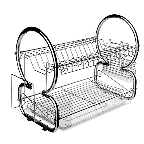 Stainless Steel 2 Tier Dish Rack Kitchen Cup Drainer Rack With Removable Plastic Drainboard (Dish Rack Cup)