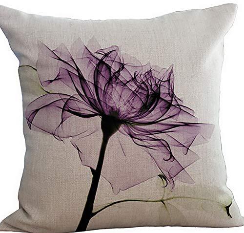 Kaputar Flowers Leaves Throw Pillow Cover Sham Slipover Cotton Linen Pillowcase Square Pillowslip Sham | Model WDDNG -431 | Without Filler -