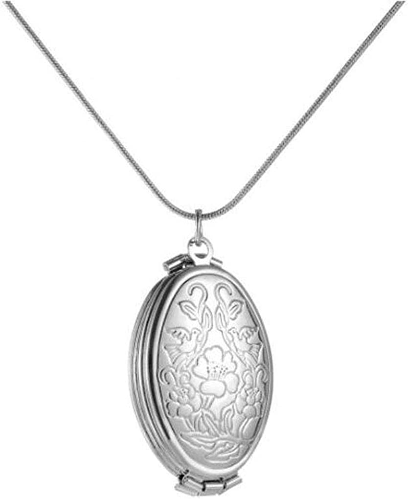 Gostear Oval Flower Carved Pendant Photo Locket Necklace That Holds 4 Pictures Silver Plated for Women