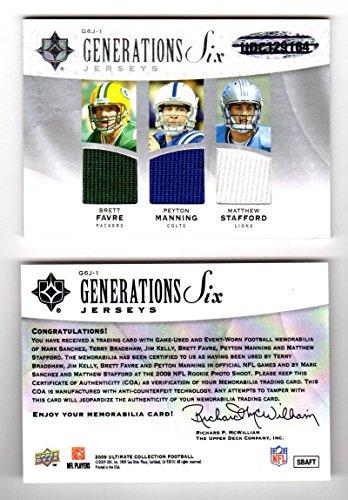 2009 Upper Deck Ultimate Collection Generations Six Brett Favre Peyton Manning Matthew Stafford Mark Sanchez Terry Bradshaw Jim Kelly #G6J-1 NM MEM 5