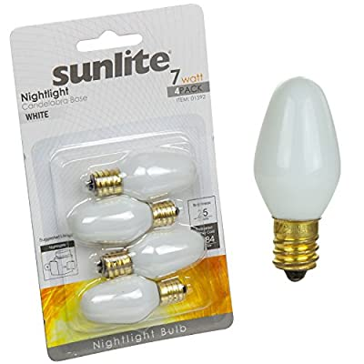 Sunlite Incandescent 7-Watt, Candelabra Based, C7 Night Light Colored Bulb, 4 Pack