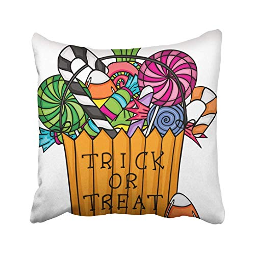 RPABR Custom Orange Calorie Halloween Trick Treat Bag Filled with Candies Candy Cartoon Celebration Pillowcase Throw Pillow Cover Case 16x16 inches -