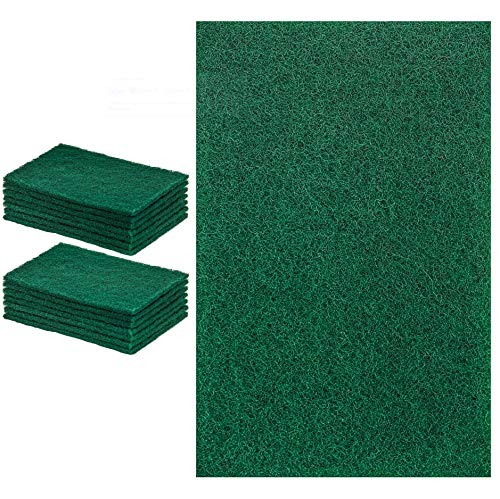 Heavy Duty Scrubber Sponge - DecorRack 14 Large Cleaning Scouring Pads for Kitchen, Dishes, Bathroom, Household, Large Heavy Duty Non Scratch Scour Pad, High Quality Scrubber Sponge Dish Pads, Green (Pack of 14)