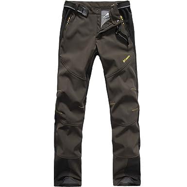 6b254b8290968 FLYGAGA Homme Pantalon Softshell Doublé Polaire Coupe-Vent ...