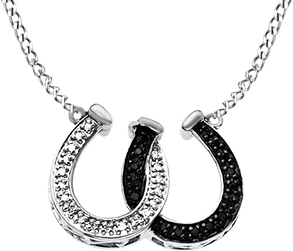 AFFY White /& Black Natural Diamond Double Heart Pendant Necklace 14k White Gold Over Sterling Silver 0.05 Ct