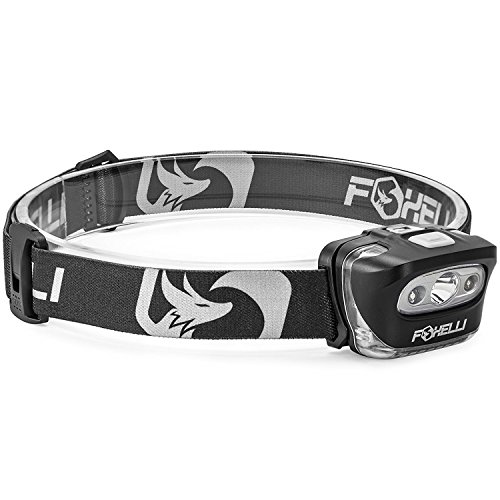 Foxelli Headlamp Flashlight - 165 Lumen, 3 x AAA Batteries Operated, Bright White Cree Led + Red Light, Perfect for...
