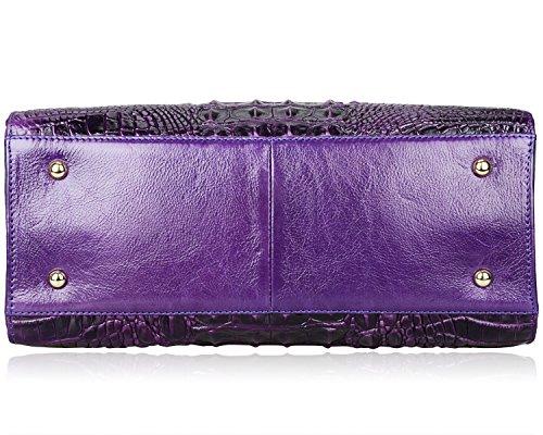 PIJUSHI Crocodile Handbags And Purses Satchel Office Padlock Handbag For Women 22130 violet by PIJUSHI (Image #6)
