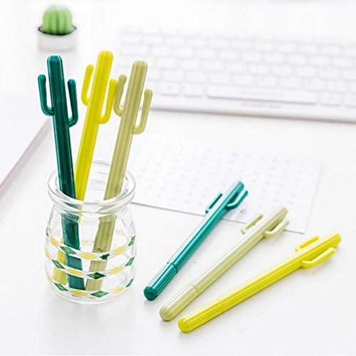 Cactus Ballpoint Pen, 6 pcs Cute Cactus Premium Black Gel Ink Office Writing Pens with Cactus Canvas Pen Case Pencil Bag for School Office Supply Gift Stationery(Cactus Pen set) by wanxing (Image #1)