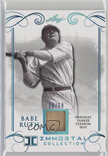 Babe Ruth #/50 (Baseball Card) 2017 Leaf Babe Ruth Immortal Collection - Yankee Stadium Seat - Blue Spectrum [Memorabilia] #YS-31