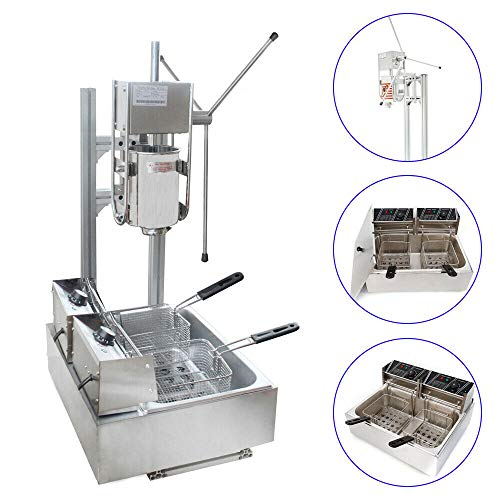 TFCFL 3L Stainless Steel Commercial Manual Spanish Churro Maker Machine with 12 L Fryer for Restaurant Coffee Room Wine Bar Shop (Churros Machine)