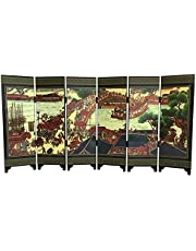 6-Panel Traditional Chinese Crafts for Home Decoration, Flower Bird Lucky Auspicious Lacquer Ware Antique Small Screen Desktop Ornaments Furniture Lacquer Screen