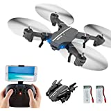 Foldable Drone, Beyondsky RC 8807W Quadcopter, 2 Battery, Wifi FPV 2.4G 6-Axis Gyro Headless Mode One Key Return, with Wide-angle 720p 2MP Camera (8807W)