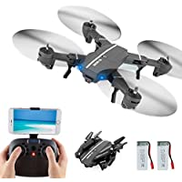 Beyondsky Foldable RC Drone 8807W Quadcopter, 2 Battery, Wifi FPV 2.4G 6-Axis Gyro Headless Mode One Key Return, with Wide-angle 720p 2MP Camera (8807W 2 battery)