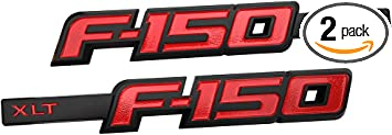 Black Red F-150 International Side Door Fender Emblems 3D Stickers Badges Pair New Logo Replacement for F150