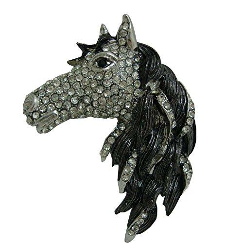 TTjewelry Classical Horse Rhinestone Crystal Animal Brooch Pin (Black Silver-tone)