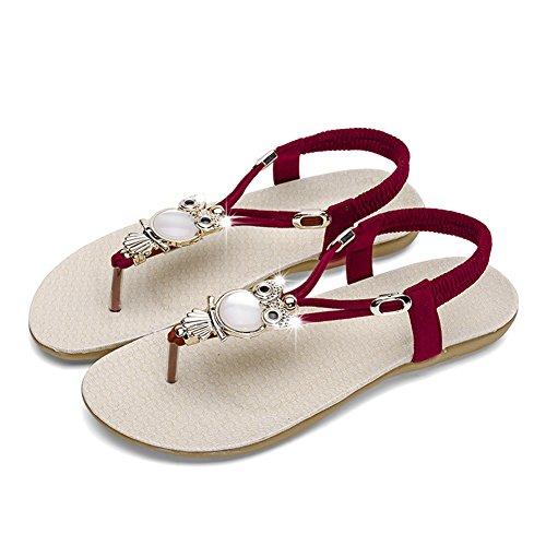 6fb44e413779ec Rubber sole ซื้อที่ดีที่สุด Womens Sandals Flat Bohemia Style Gem Owl Beaded  Clip Toe Flip Flop