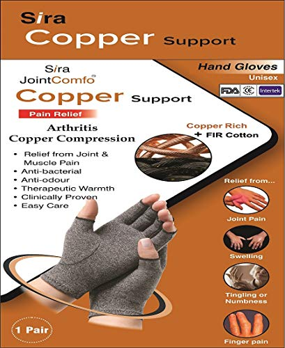 Sira Copper Compression Open Finger Hand Gloves, Relief from Arthritis Pain, Swelling, Rheumatoid, Osteoarthritis, Tingling or Numbness, Fingers/Joint Pain, Helps in Hand Mobility. 1 Pair (L) - Rheumatoid Arthritis Drug