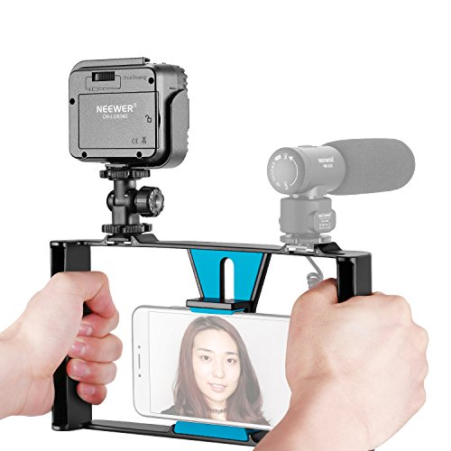 Neewer Smartphone Video Rig with Dimmable 36 LED Video Light Kit,Filmmaking Recording Vlogging Case,Handheld Grip Stabilizer for iPhone X/8/7 Plus/7,Samsung and Phones within 7-inch Screen(Black/Blue) (Making Kit Film)
