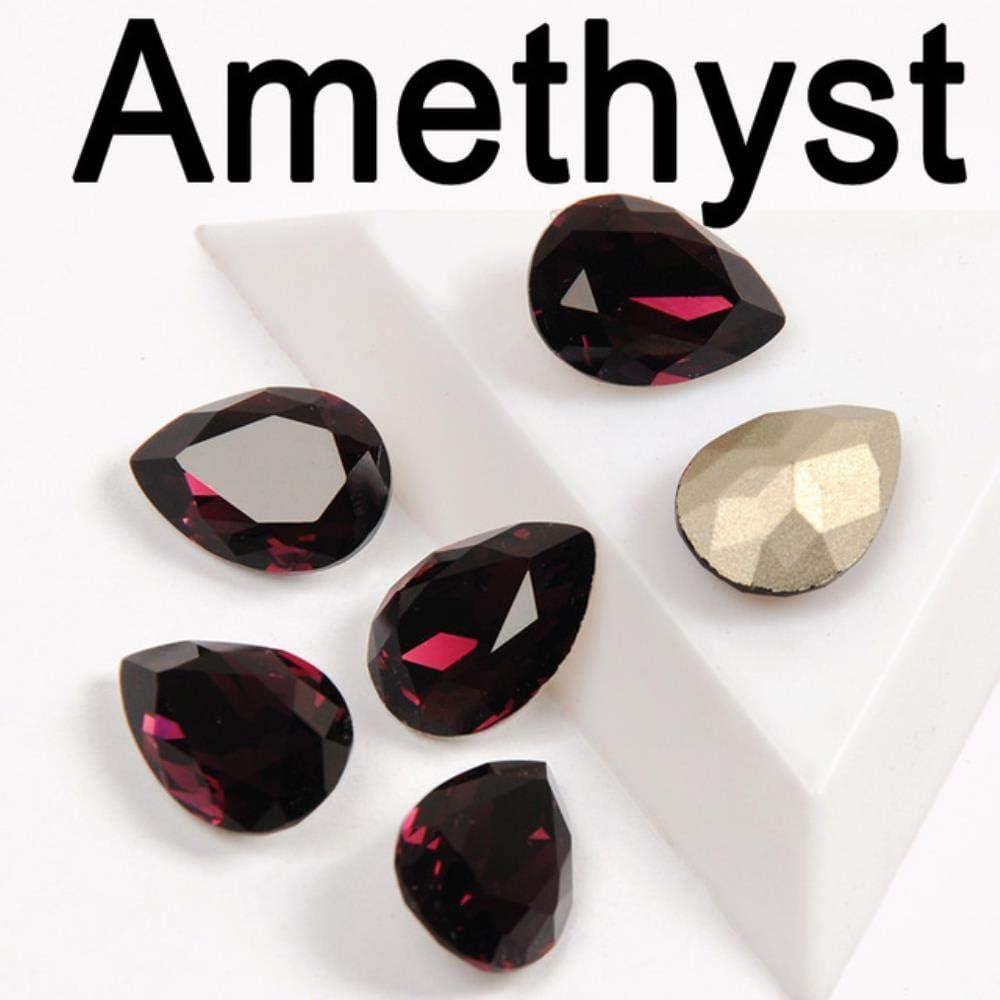 Multicolor Crystal Drop Pear Strass con Diamantes de imitación de Ajuste Coser en Piedras de Vidrio DIY Garment Jewelry Ring Colgante Vestido, Amatista, 13x18mm 8pcs