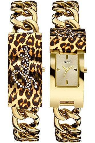 Guess Ladies Gold Tone Animal Print Bracelet Iconic ID Watch W0321L5
