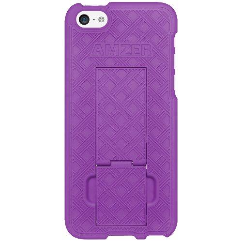 Amzer - Custodia rigida rivestita in gomma con supporto integrato, per Apple iPhone 5c, colore: Viola