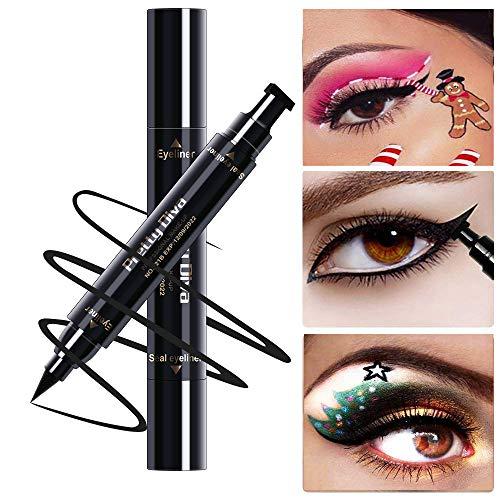 (PrettyDiva Winged Eyeliner Stamp - Waterproof Long Lasting Liquid Eyeliner Pen Smudgeproof Eye Makeup Seal Stamp Tool for Wing or Cat Eye - Black)